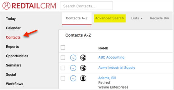 Advanced Search in Redtail – Helpdesk