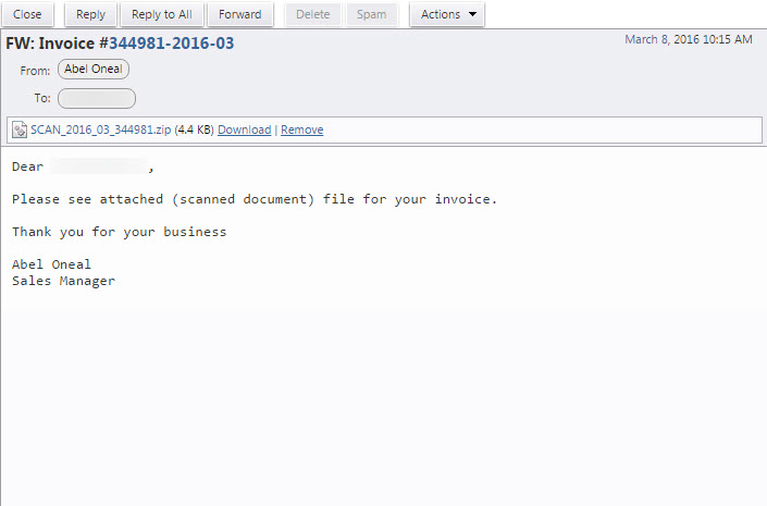 Spam Alert Invoice And Zip File Spam Helpdesk